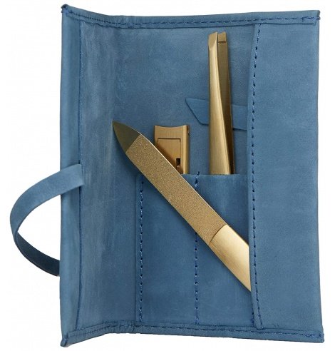 Zwilling J.A Henckels Soin des ongles manicure Zwilling - Etui de poche bleu - Twinox Gold Edition (3 pièces) 97720-008-0 - C...