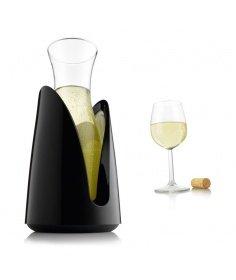 Vacuvin Carafe en verre Vacuvin avec support rafraîchissant noir 631364545 - Coutellerie du Jet d'eau