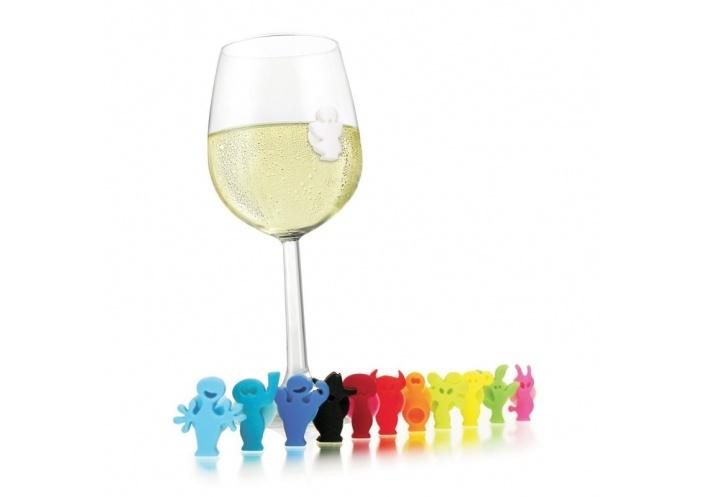 Vacuvin Lot de 8 marque verres Vacuvin - Decor party peolpe 7218860 - Coutellerie du Jet d'eau