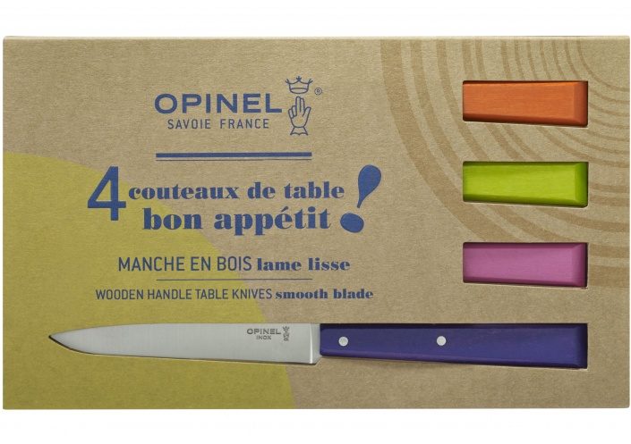 Opinel Opinel coffret de couteaux de table Bon Appétit Pop (4 pièces) 001532 - Coutellerie du Jet d'eau