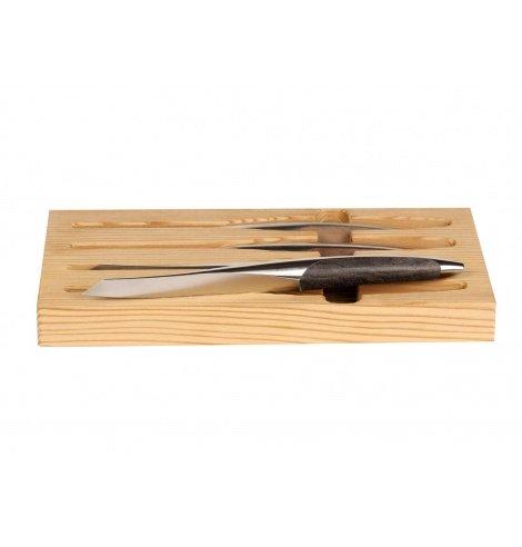 Sknife Set de 4 couteaux steak Sknife en bois de frêne noir (11 cm) S-401E - Coutellerie du Jet d'eau