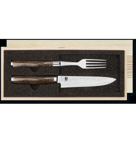 KAI Set couteau steak damas et fourchette KAI Shun Premier Tim Mälzer TDM-0907 - Coutellerie du Jet d'eau