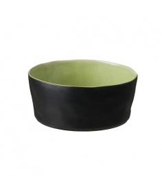 Costa Nova Riviera saladier Costa Nova, noir et vert frais (Ø 24.5 cm) LOS241HGR - Coutellerie du Jet d'eau