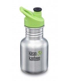 Klean Kanteen Gourde Kid Kanteen Classic (avec Sport Cap vert) Brushed Stainless 355ml 1005852 - Coutellerie du Jet d'eau