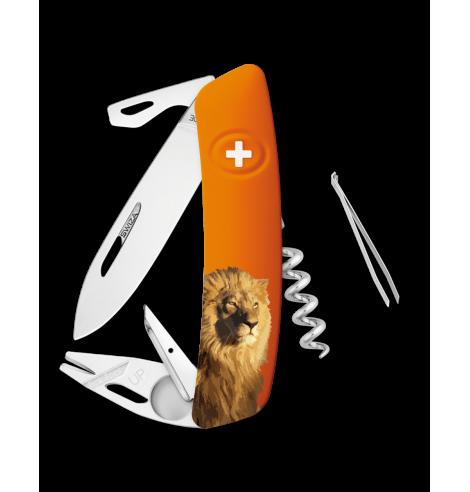 Swiza Swiss Knives Couteau suisse Swiza TT03 Wildlife Tick-Took Lion KNB.0070.W005 - Coutellerie du Jet d'eau